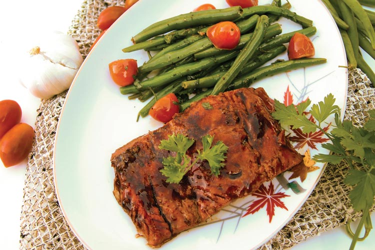 Salmon with Ketchup-Ginger Glaze